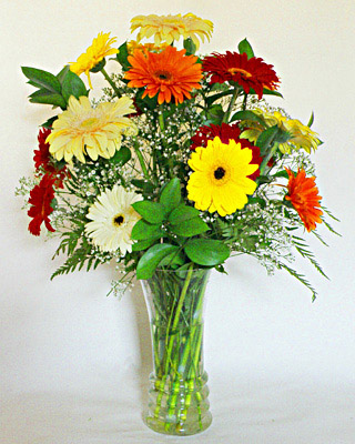 Flora Niche South Africa-Happiness -Mixed Gerberas - Vase included in price<br>Medium - 10 stems, Large - 15 stems