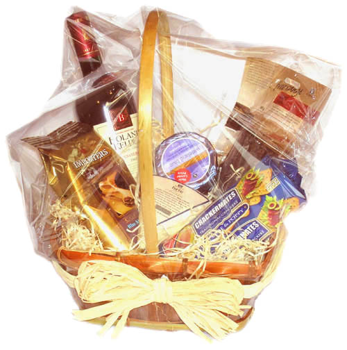 Flora Niche South Africa-Savoury Treat-Basket of Wine, Biltong, Cheese & Biscuits and Fresh Coffee